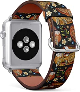 Compatible with Apple Watch Series 5, 4, 3, 2, 1 (Small Version 38/40 mm) Leather Wristband Bracelet Replacement Accessory Band + Adapters - Embroidery Sleeping Fox Flowers