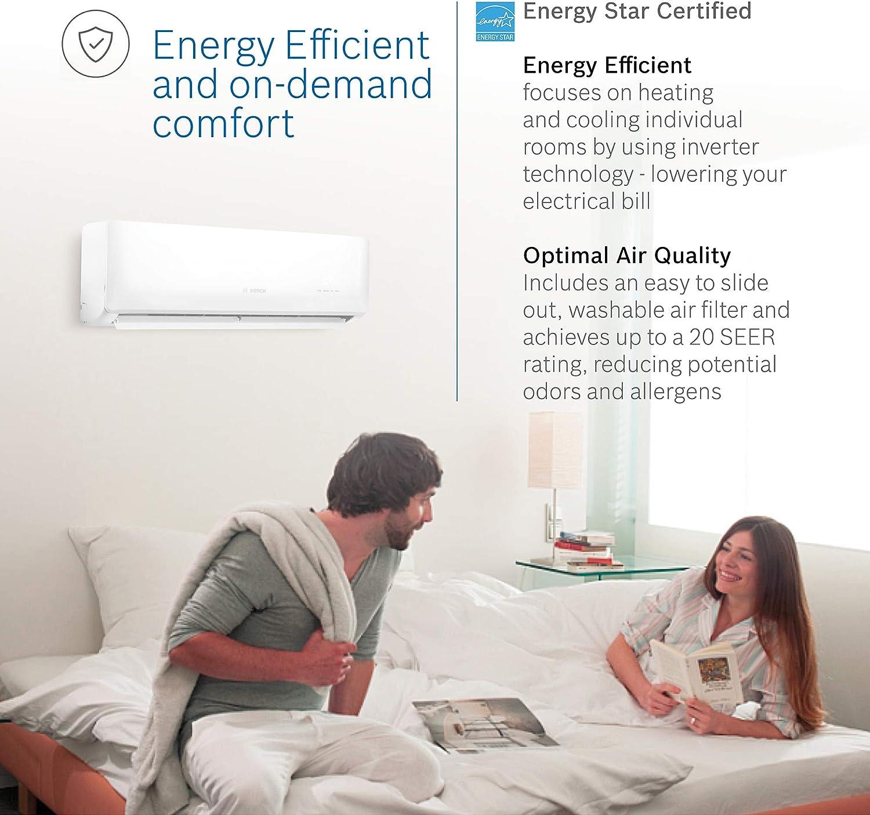 20 SEER High-Efficiency ltd Warranty and Energy Star Certified Bosch Thermotechnology Ultra-Quiet 18K BTU 230V Mini Split Air Conditioner /& Hyper Heat System Gen 2 with Inverter Heat Pump 7 yr