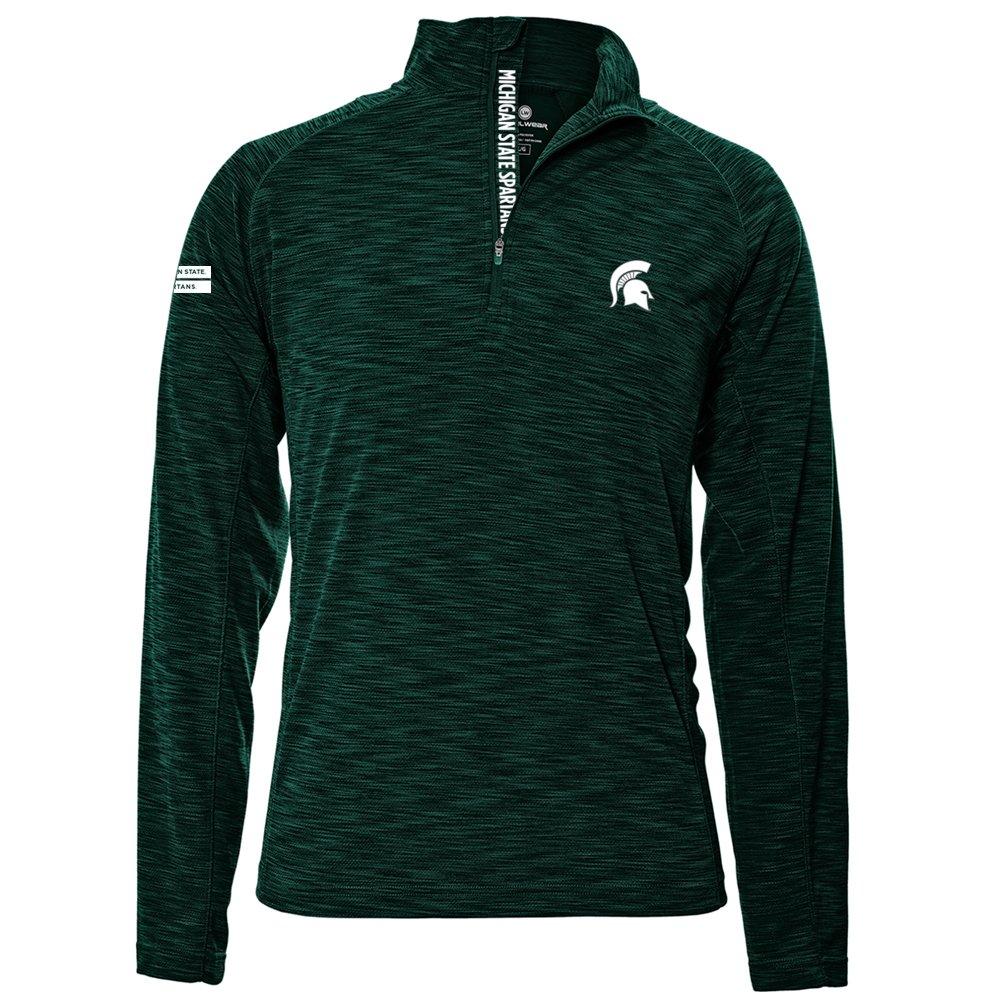 Levelwear LEY9R NCAA クオータージッププルオーバー ストロングスタイル ミッドレイヤー B074PH5BBT Large|フォレストグリーン|Michigan State Spartans フォレストグリーン Large