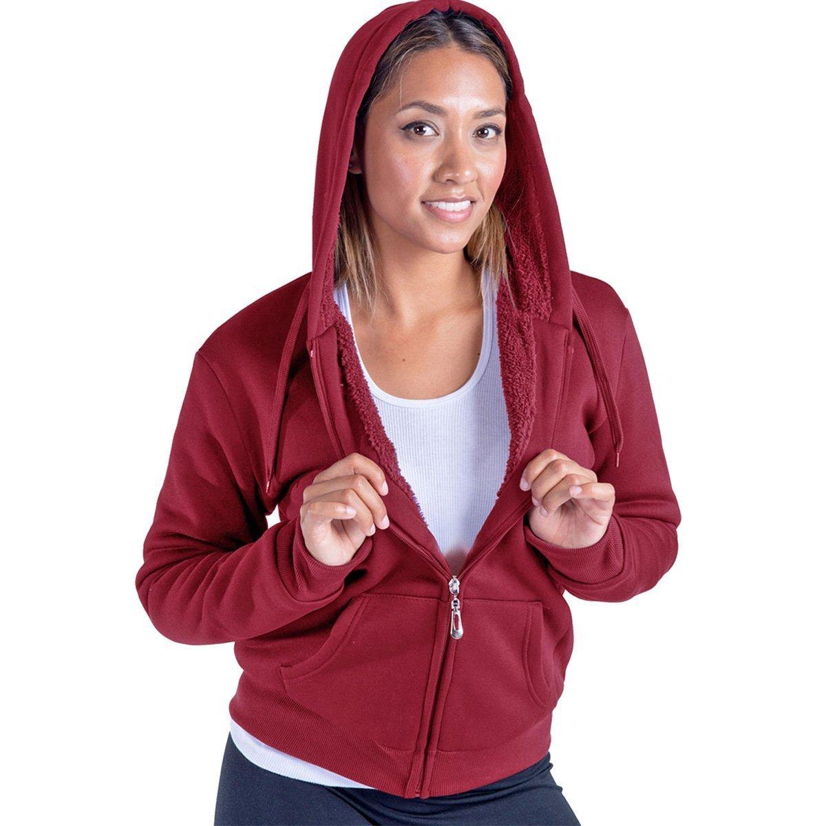 Leehanton Women's Plus Size Full Zip Soft Sherpa-Lined Fleece Hoodie Burgandy 1XL