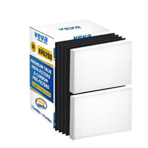 VEVA Complete 2 Premium True HEPA Replacement Filter Pack Including 4 Activated Carbon Pre Filters Precut for HPA200 Compatible with HW Air Purifier 200, 202, 204, 250B and Filter R