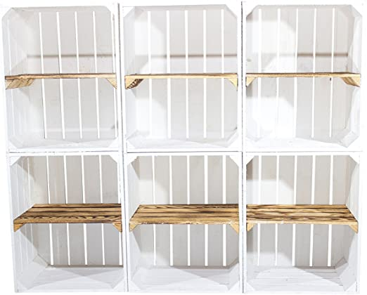 Vintage Möbel 24 GmbH Juego de 6 Blanca Estantería Caja con Tabla Central En, vetado – Horizontal de Fruta (Manzana Caja cajón-estantería Caja Estante Zapatero Estante 50 x 40 x 30 cm: