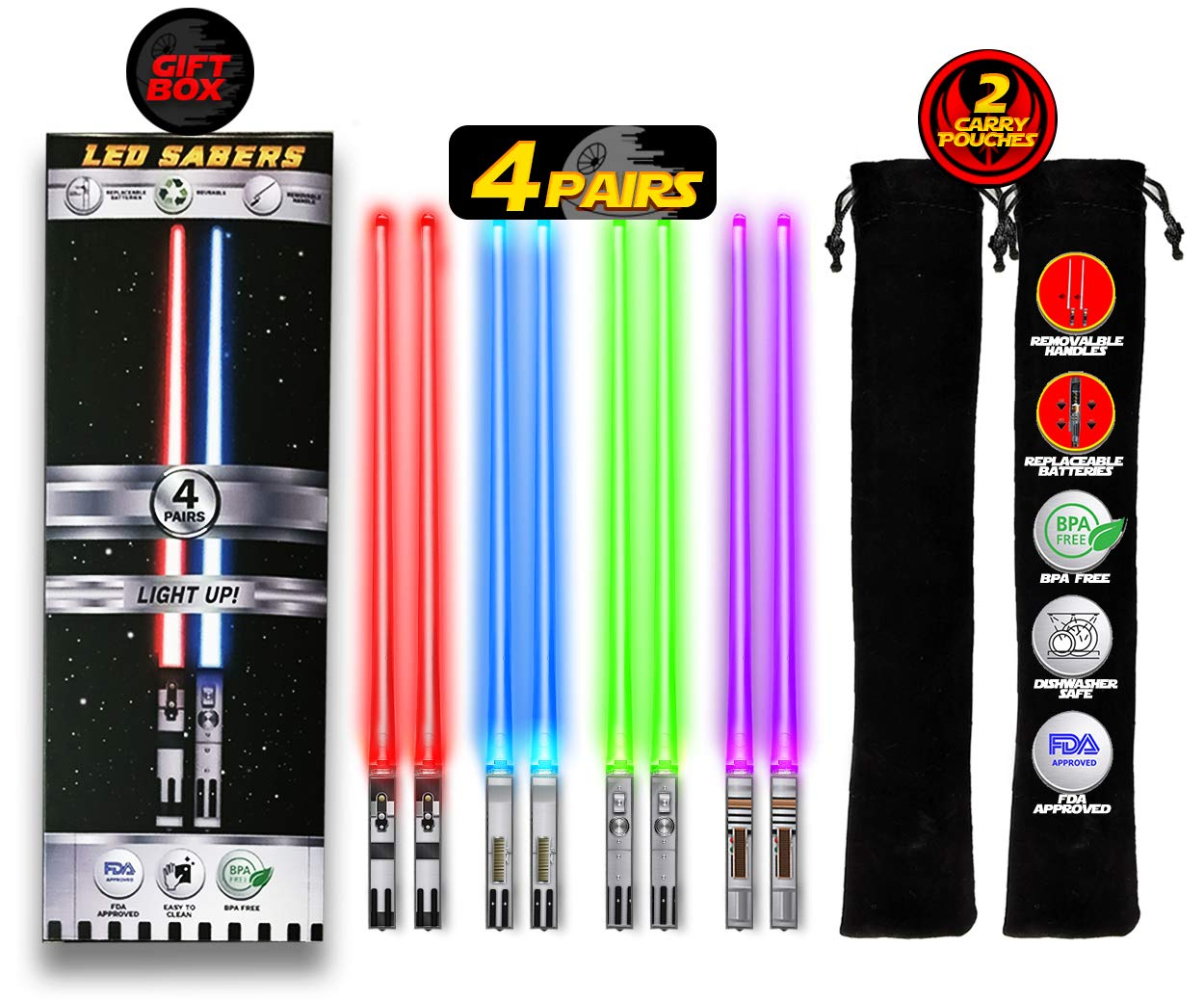 LIGHTSABER CHOPSTICKS LIGHT UP STAR WARS LED Glowing Light Saber Chop Sticks REUSABLE Sushi Lightup Sabers Removable Handle Dishwasher Safe Red Blue Green Purple 4 Pairs