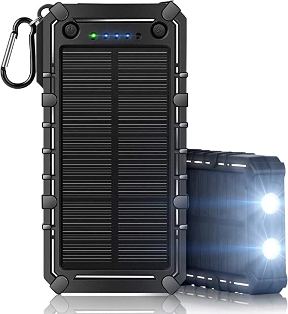 Shockproof and Dustproof Portable Solar Panel Phone Charger Solar Power Bank with Dual USB iPad Solar Charger 15000 mAh IP65 Waterproof Samsung Galaxy LED Flashlight iPhone for Cell Phone
