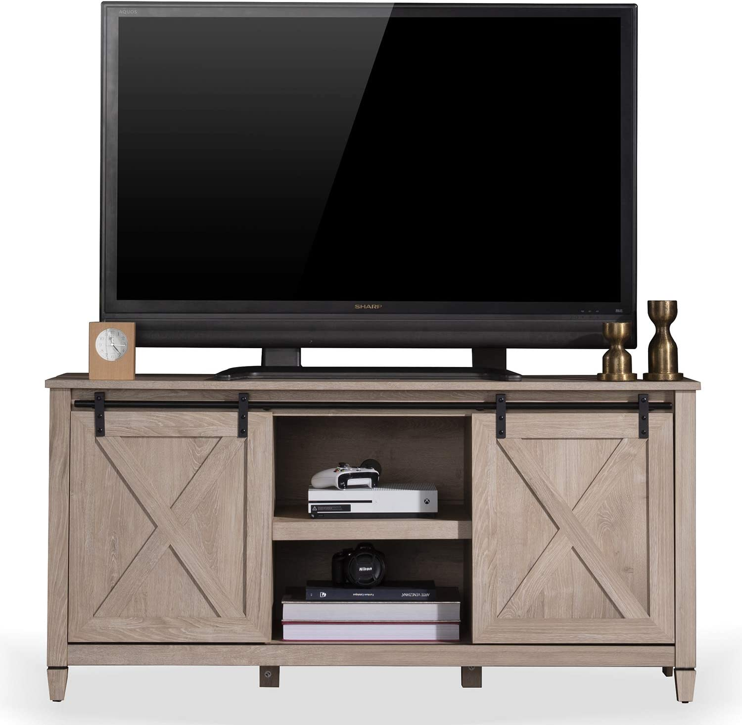 """Sekey Home Sliding Barn Door TV Stand 