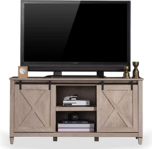 Sekey Home Sliding Barn Door TV Stand Entertainment Center TV Console for 58 for Flat Screen TV s Up to 65 ,Light Oak
