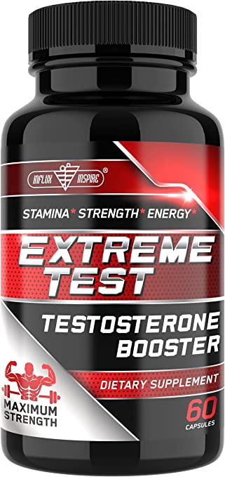 Testosterone Booster for Men - Natural Male Enhancing Supplement - Muscle Builder Enlargement Pills for Strength, Energy, Stamina, Endurance & Growth - Test Booster by Influx Inspire - 60 Capsules