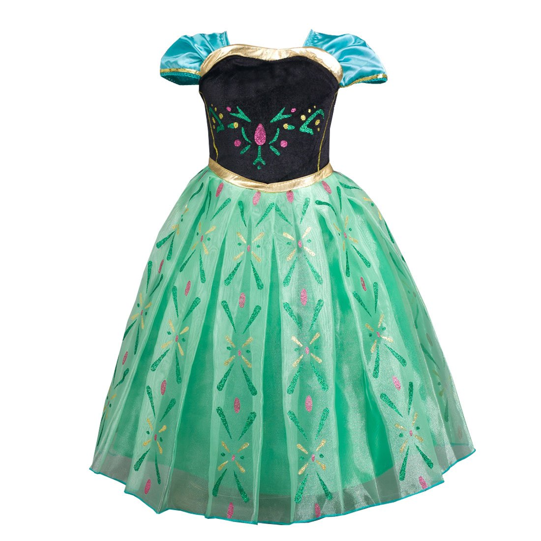 Girl's Short Sleeve Princess Dress up Halloween Christmas Cosplay Costume Fancy Party Summer Dress 8-9 years old