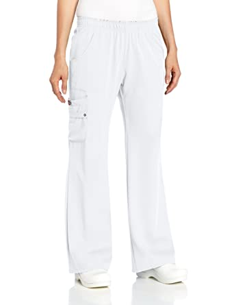 d5f45c90aab Dickies Women's Scrubs Xtreme Stretch Fit Elastic Waist, White, XX-Small