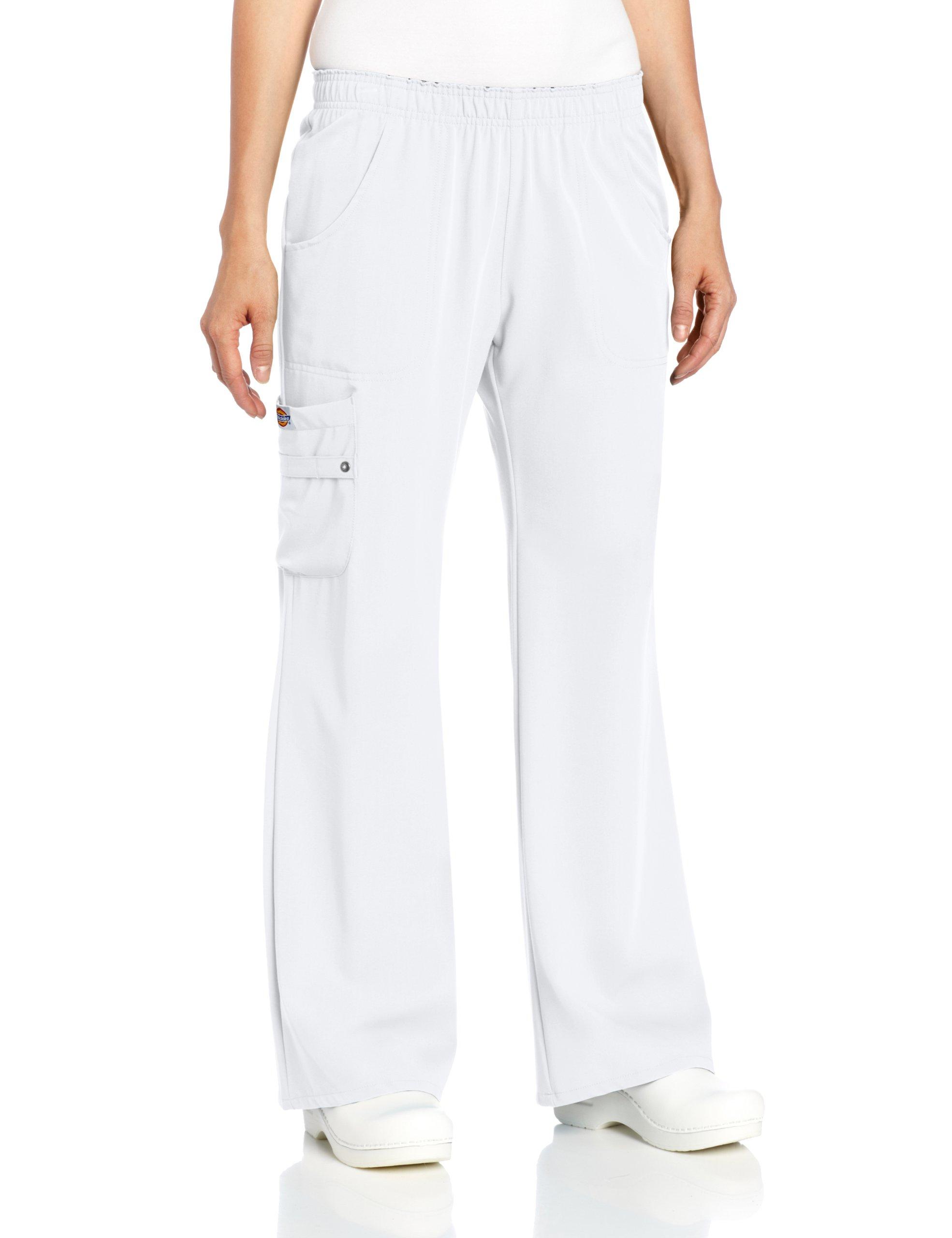 Dickies Scrubs Women's Xtreme Stretch Fit Elastic Waist, White, X-Large