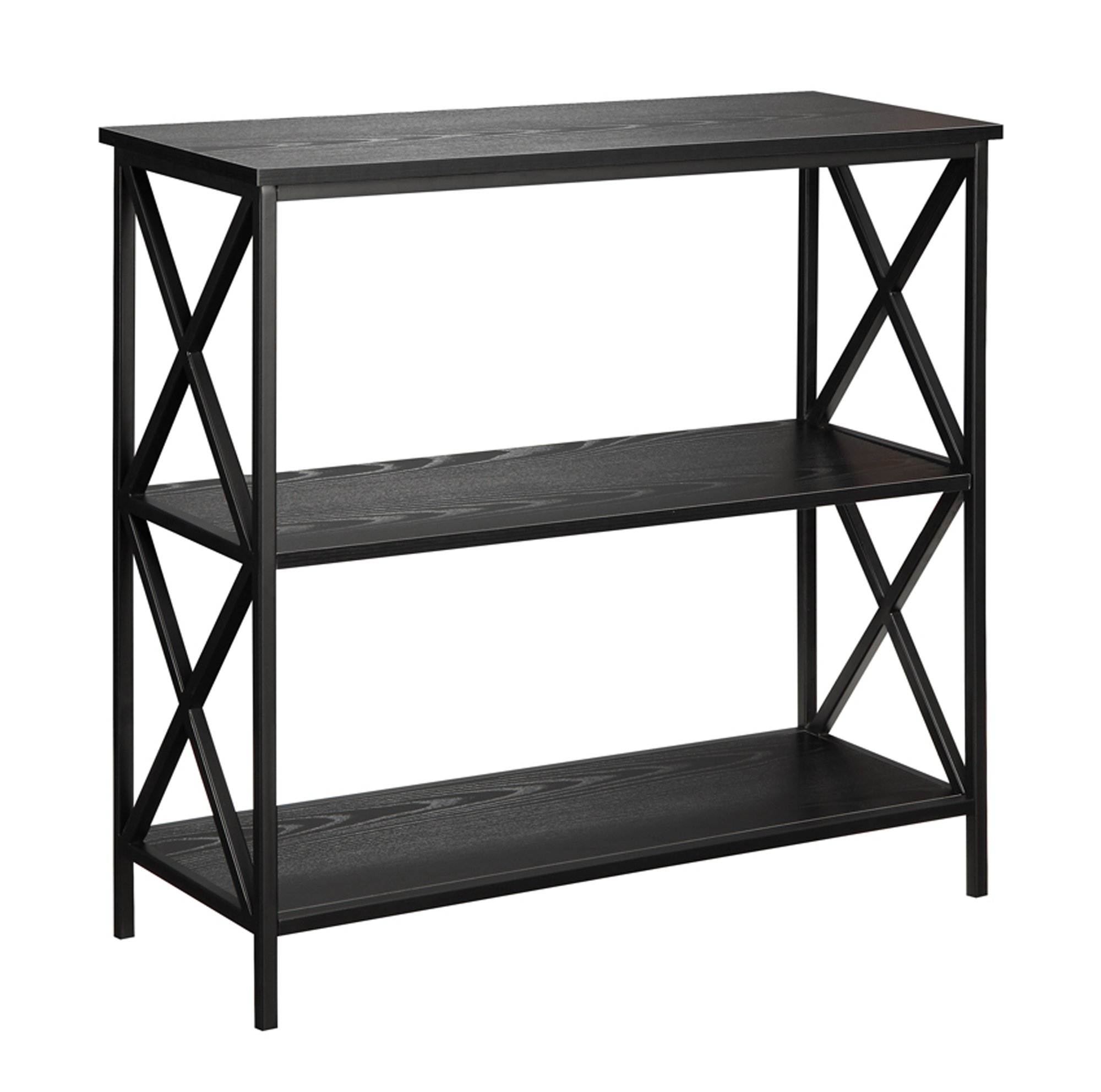 Convenience Concepts Tucson 3-Tier Bookcase, Black - Tucson Collection Powder coated metal X-frame Available in multiple finishes - living-room-furniture, living-room, bookcases-bookshelves - 71s2V9JEFIL -