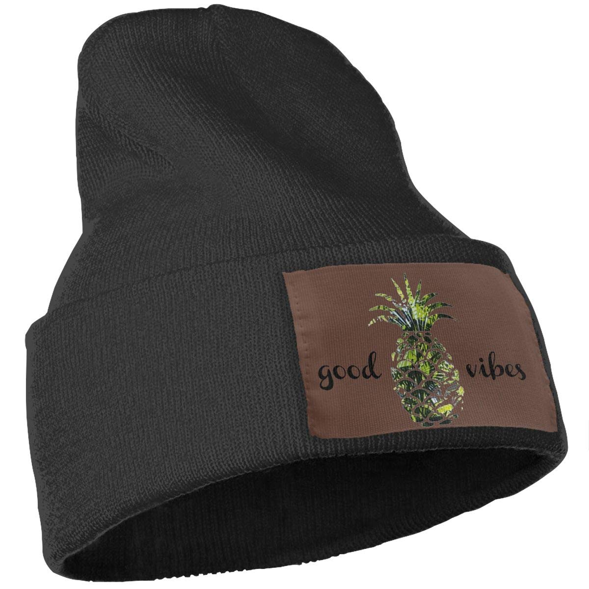 Good Vibes Pineapple Palm Tree Winter Beanie Cap for Women Men Serious Style Casual Beanies