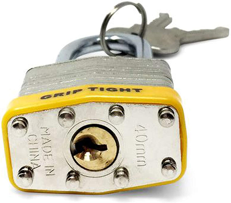 24 Keys Grip Tight Tools 2 in.Laminated Padlocks with Vinyl Bumper 12 Pack