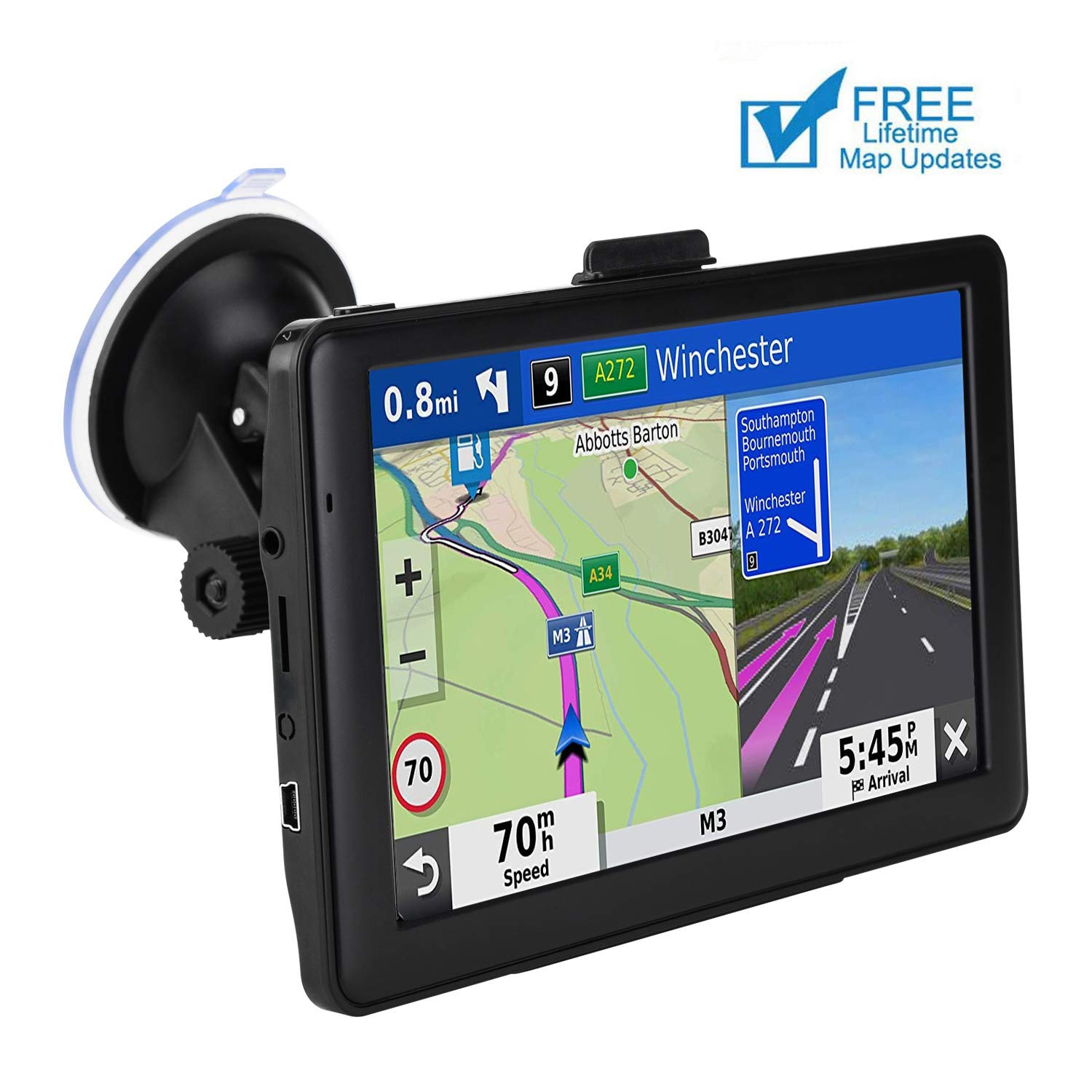 GPS Navigation for Car, 7 Inch 8GB HD Touch Screen Built-in 256MB GPS Navigation System Spoken Turn-by-Turn Directions for Car Vehicle GPS Navigator with Lifetime Map Update (US) by JOGANVE