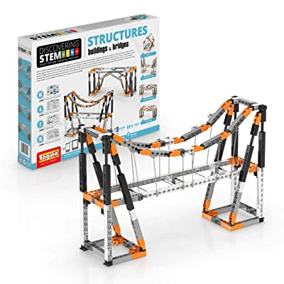 Engino Discovering STEM Structures Constructions & Bridges | 9 Working Models | Illustrated Instruction Manual | Theory & Facts | Experimental Activities | STEM Construction Kit: Toys & Games