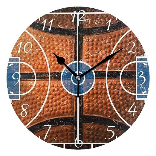 Ahomy - Reloj de Pared Redondo, diseño de balón de Baloncesto ...