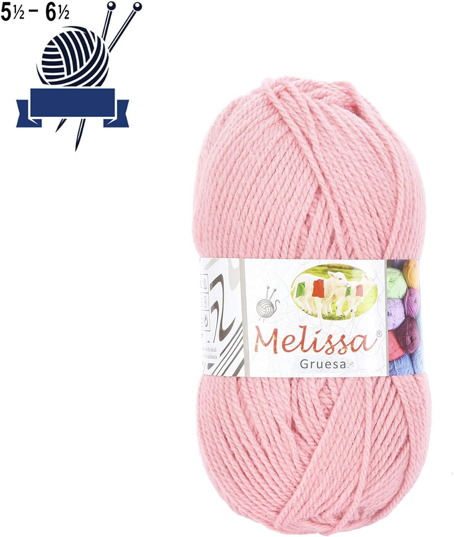 Melissa Hilo Acrílico Ovillo de Lana Premium para DIY Tejer y Ganchillo (1u * 100g), Rosa P49, Gruesa