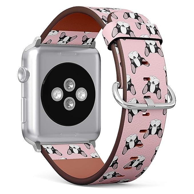 Compatible con Apple Watch de 38 mm y 40 mm (Series 5, 4, 3, 2, 1) Correa de Reloj de Cuero con Cierre de Acero Inoxidable y adaptadores (Dibujos ...