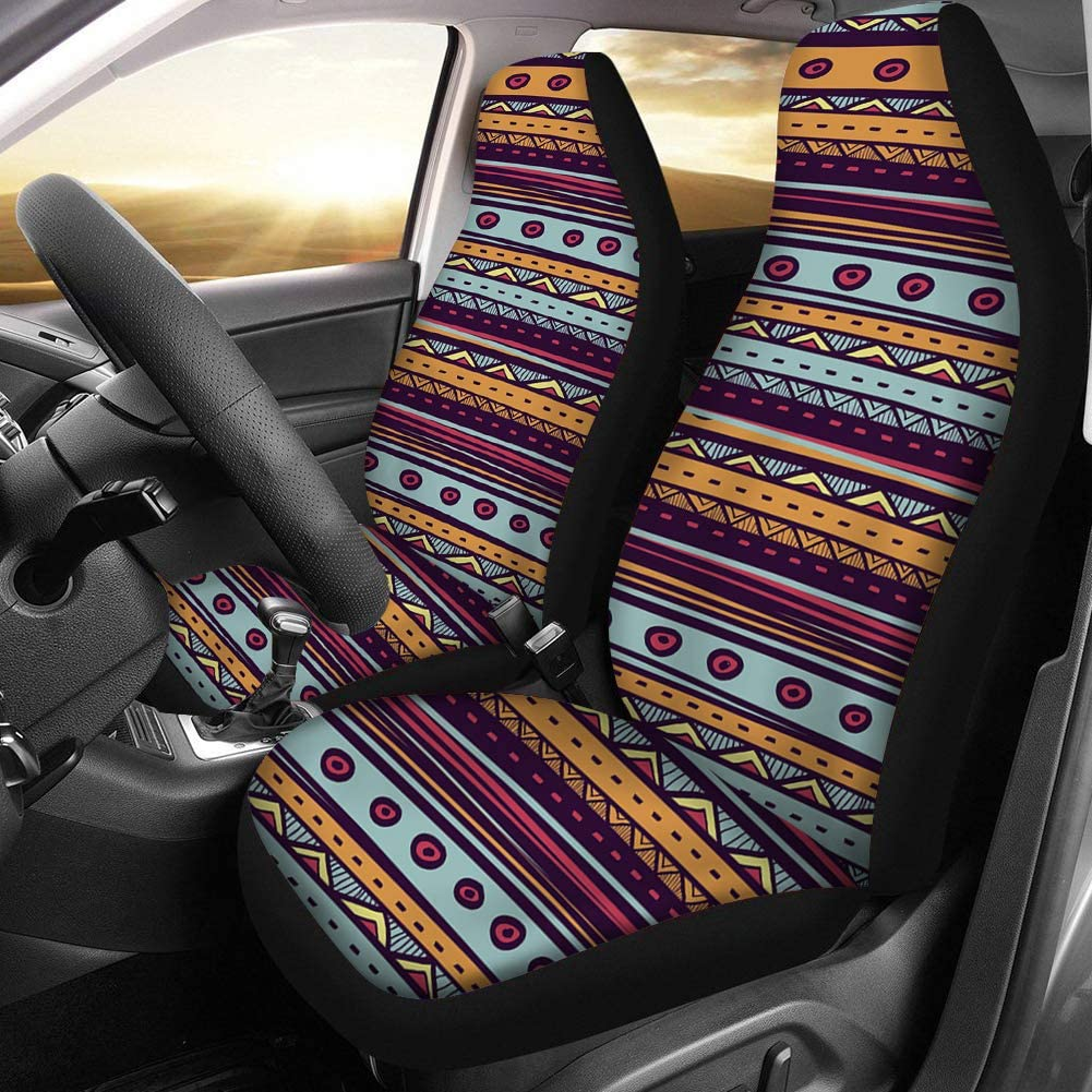 Truck Cars Pack of 2 PZZ Africa Tribal Classic Ethnic Universal Bucket Seat Cover Van Fit Most Vehicle SUV Sedan