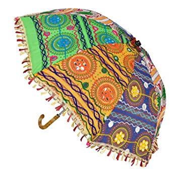 Lal Haveli Traditional Handmade Embroidery Work Design Round Cotton Umbrella 21 x 26 inches