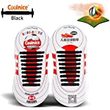 Coolnice® No Tie Shoelaces for Teenagers Outdoor Sports 18pcs - Flat Elastic Stretch Waterproof Silicone - Athletic Running Shoe Laces