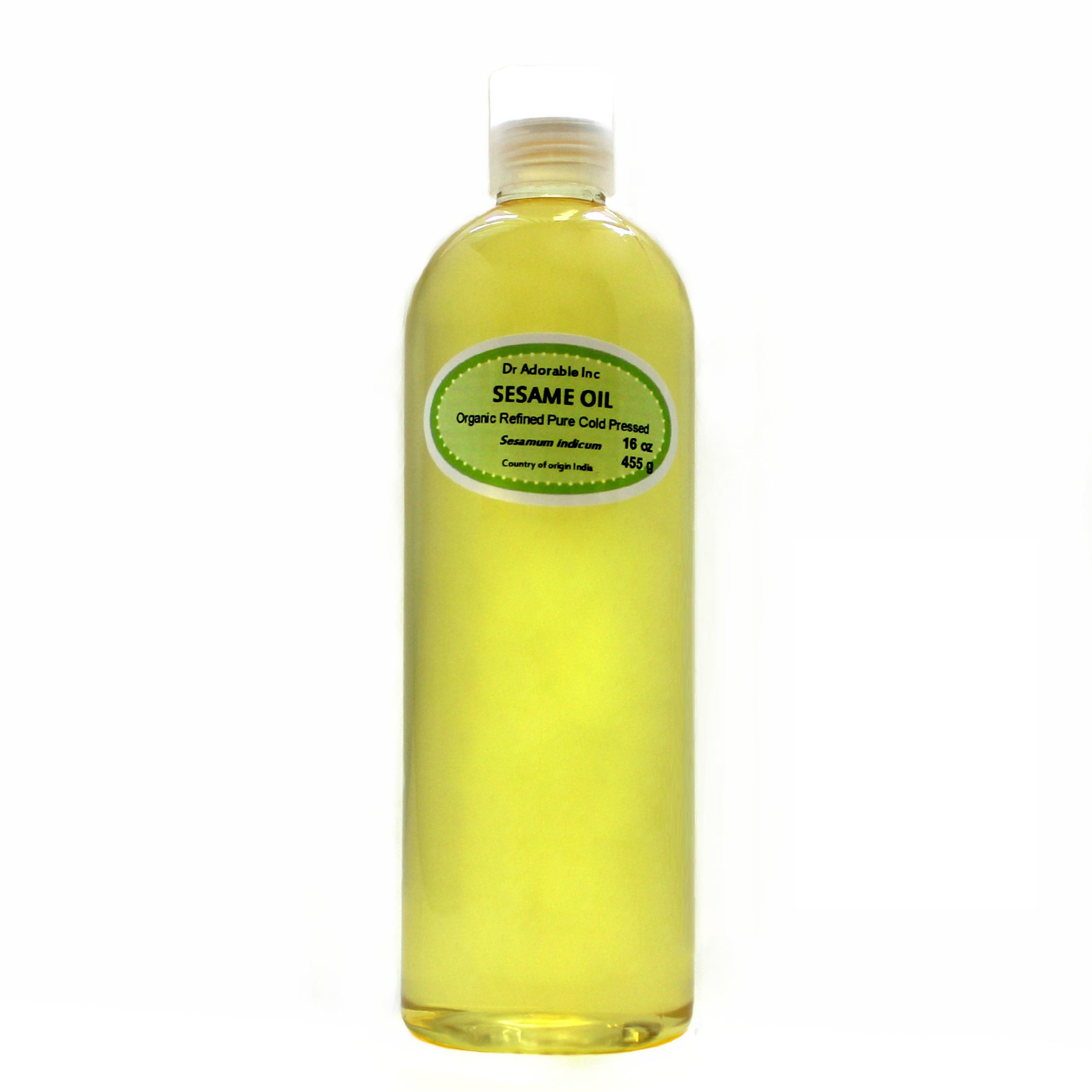 Sesame OIL Refined Cold Pressed Organic 16 Oz / 1 Pint by Dr Adorable