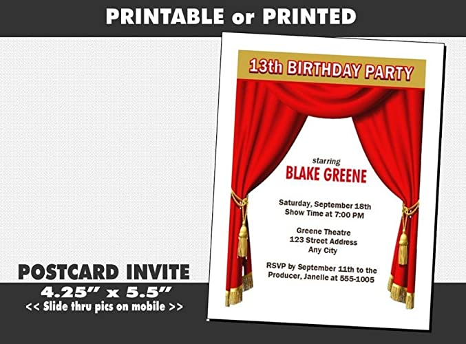 Theatre Acting Birthday Party Invitation Printable Or Printed Option