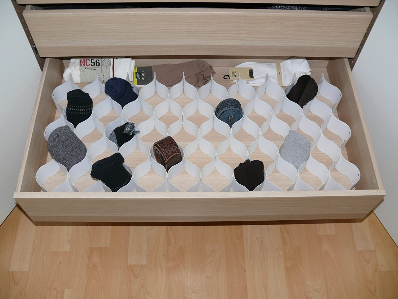 Bianco divisori per cassetti e cassetti L x B x H in cm Plastica Acero Sistema a Incastro 44 x 36 x 7 Organizer per cassetti Space Maxx in plastica