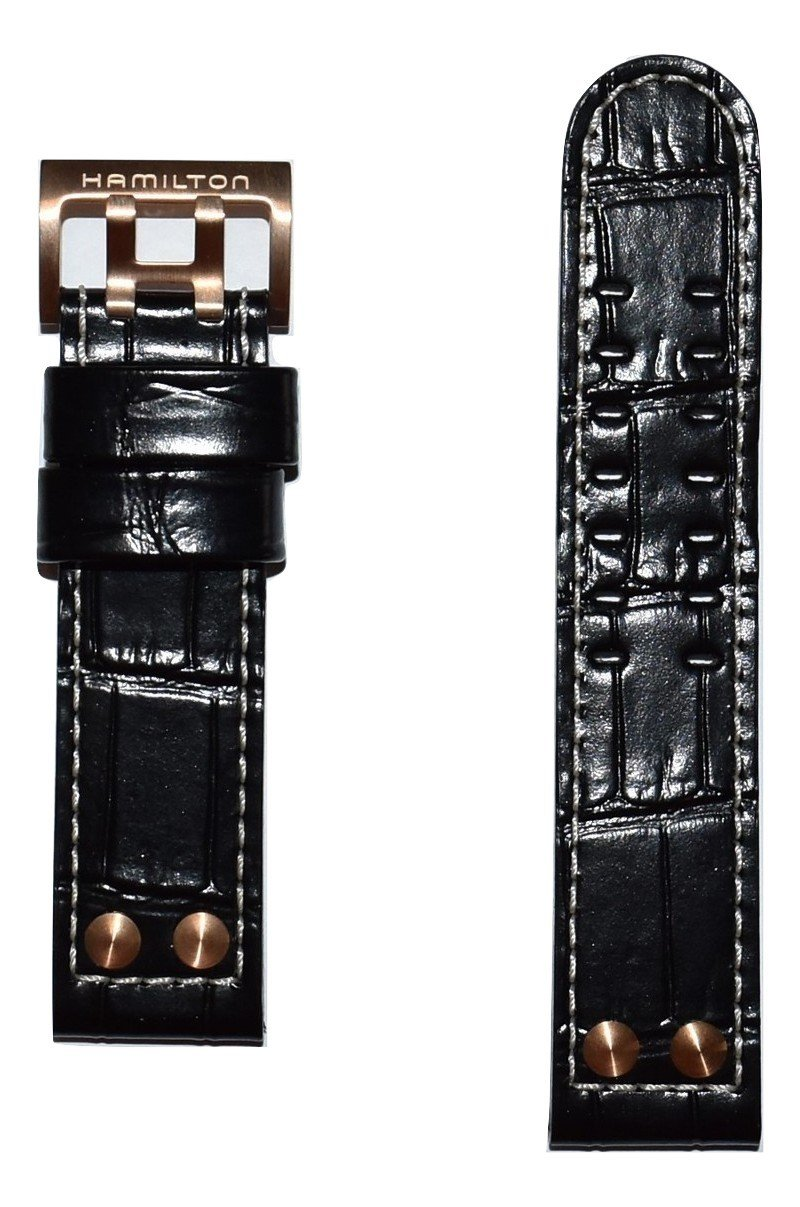 Authentic Hamilton Khaki X-Wind 22mm Black Leather Band Strap For Watch Models: H77676733, H76646533, H77696533