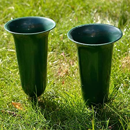 Angraves Set Of 2 Plain Green Fluted Spiked Memorial Grave Flower