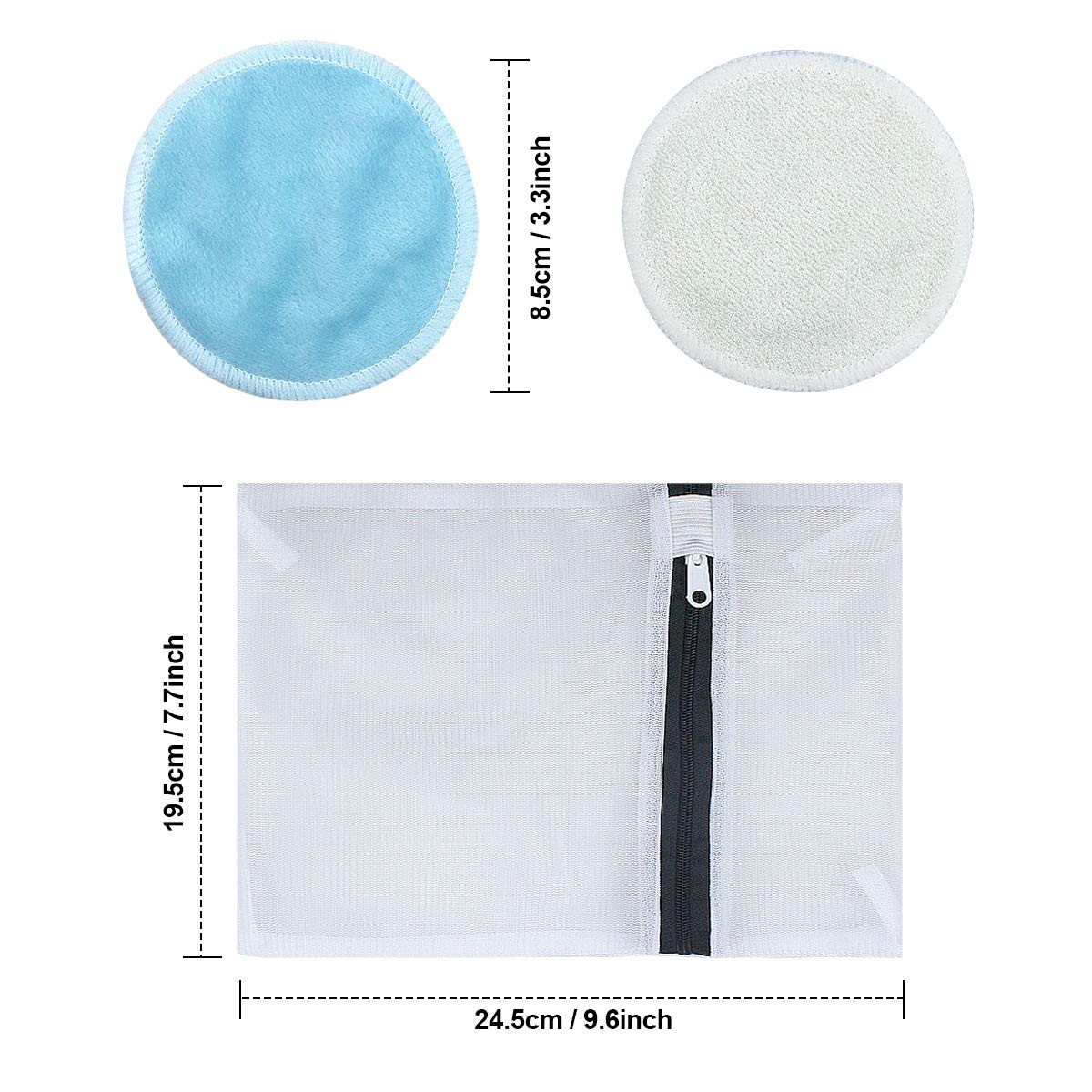 3.3 inch Washable Bamboo Cotton Pads Soft Cleansing Wipe Cloth Pads for Face Eye Makeup Clean 20pcs Reusable Makeup Remover Pads with Drawstring Laundry Mesh Bag