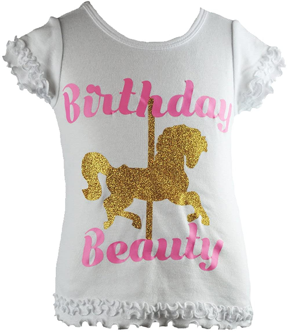 reflectionz Baby Girls Birthday Beauty Carousel Print Birthday Shirt With Glitter Text #TA5056