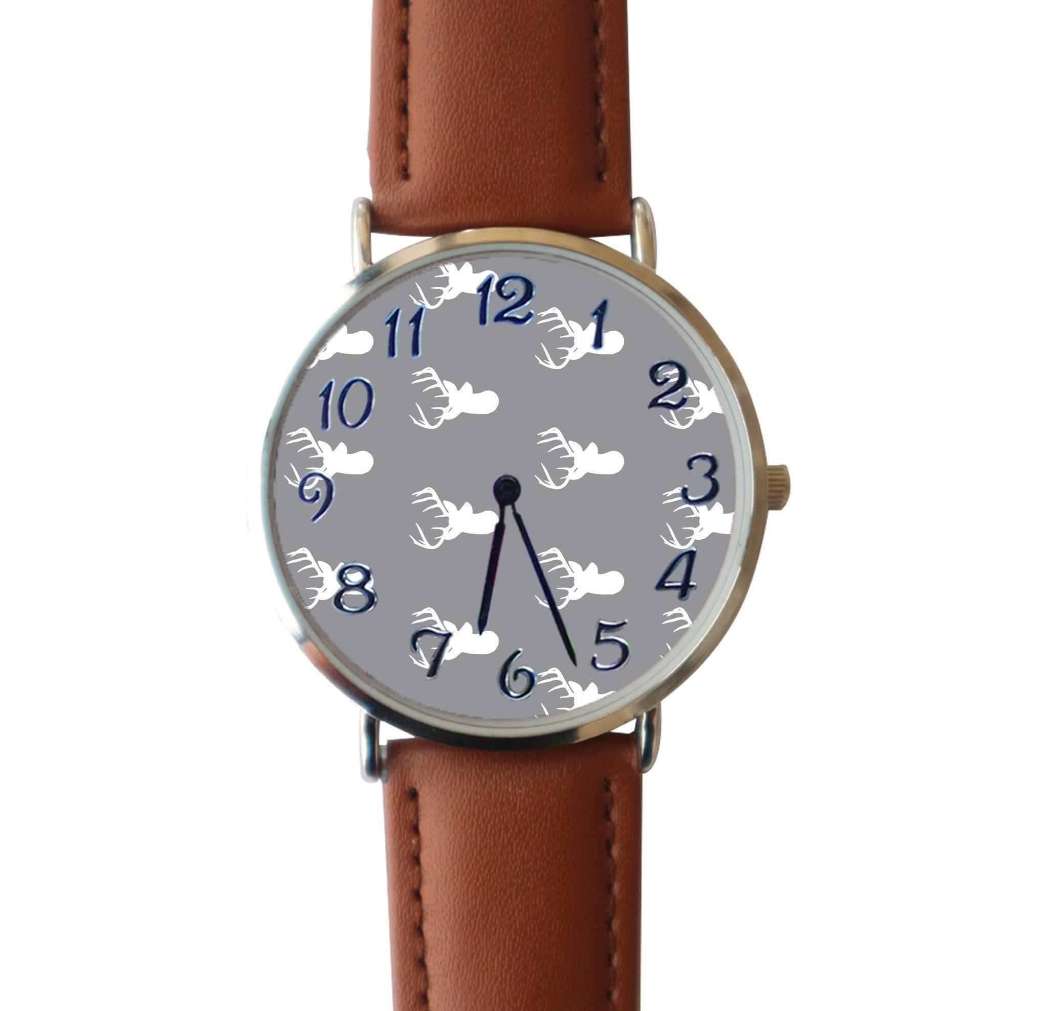 JISJJCKJSX Gray White Deer custom watches quartz watch stainless steel case