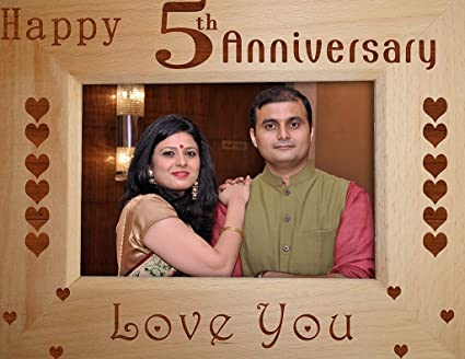 Buy tied ribbons '5th wedding anniversary' photo frame wood 22.1