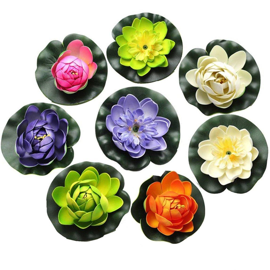FQTANJU Foam Water Lily Flower Decor Artificial Floating Pond Plants Multicolor (8 Pieces/1.5'' h x 4'' Dia)