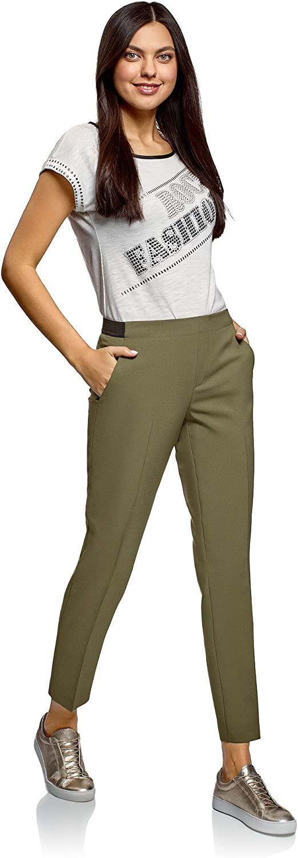 oodji Ultra Donna Pantaloni 7//8 con Cinta Elastica
