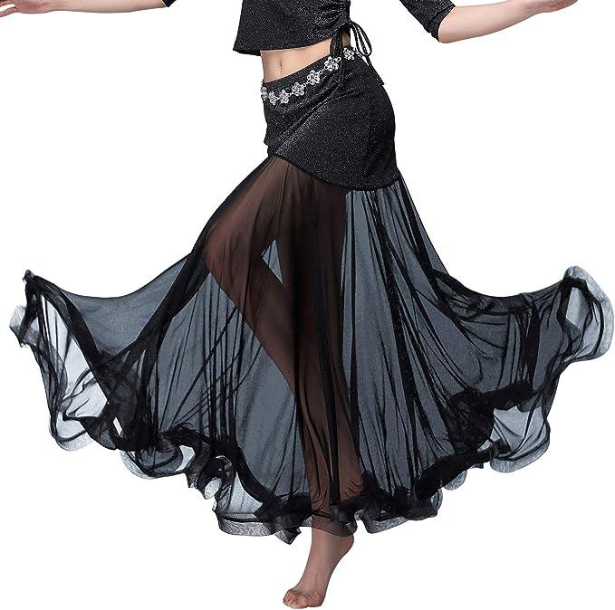 Z&X Falda de Danza para el Vientre, Falda Larga de Tul con ...