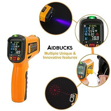 Termometro a infrarossi aidbucks AD6530B Laser Digitale Non Contatto IR Temperatura