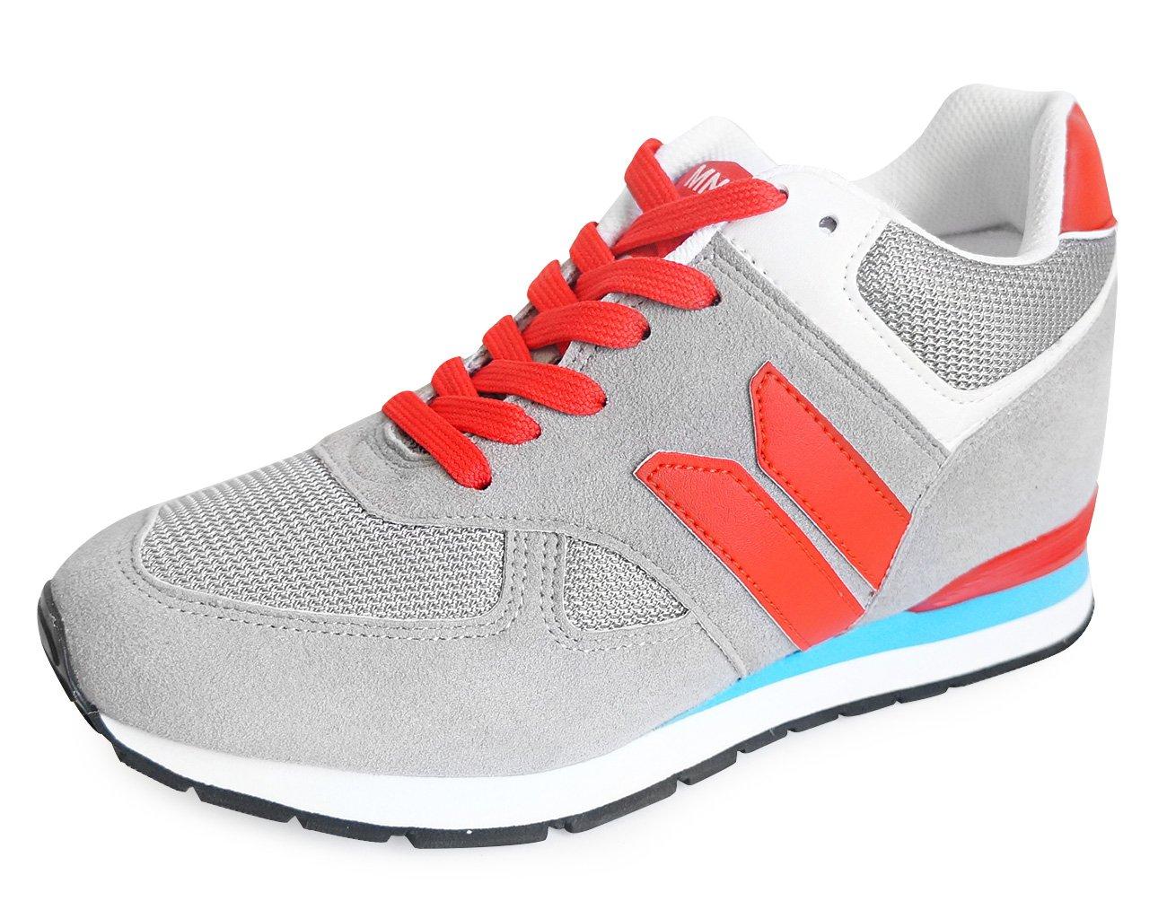 MNX15 Women's Elevator Shoes Height Increase 3.5'' ROBIN GRAY Wedge Sneakers High Heel Sneakers (8 D(M)US / 250mm(KOR), gray)