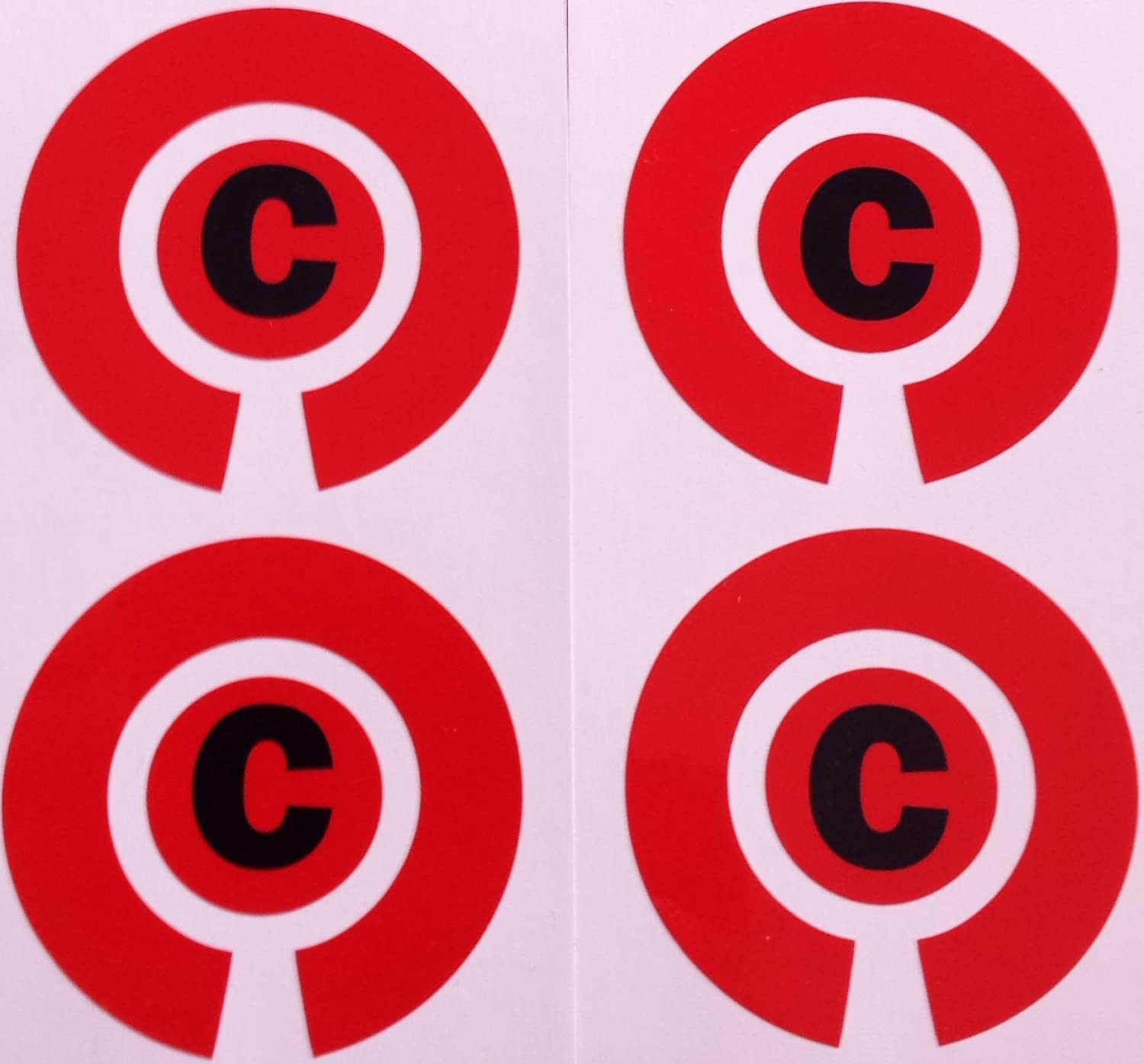 Crown Green Lawn Indoor Bowls Adhesive Lettered Coloured Marker Labels Set of 4 (Red, C)