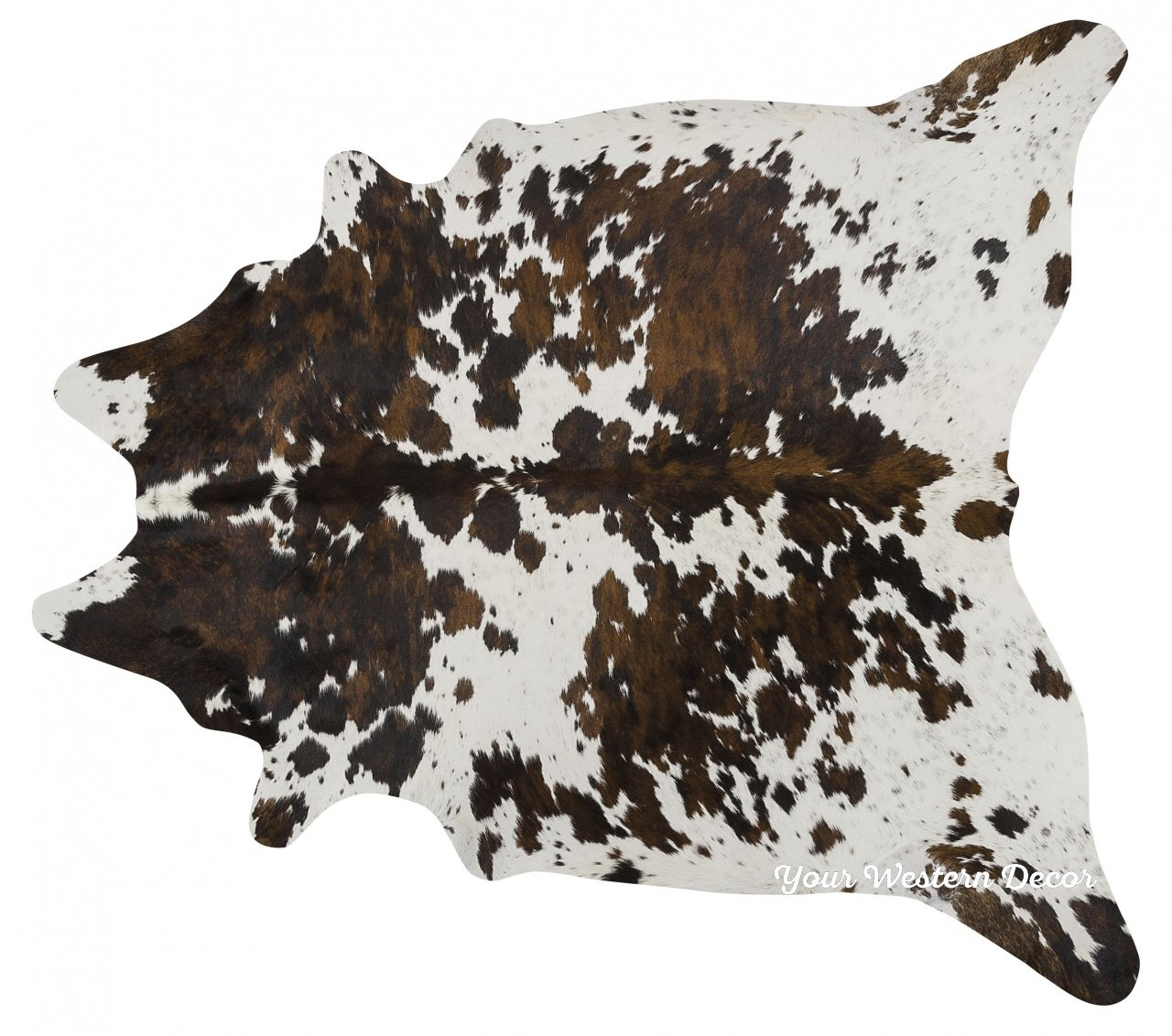 ecowhides Tricolor Brazilian Cowhide Area Rug 7 x 6 ft Tricolor Brazilian Cowhide Rug: XL Cowskin Leather Hide for Home Living Room XL
