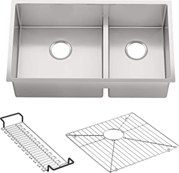 Kohler K 5284 Na Strive Undermount Large Medium Double Bowl Kitchen Sink 32 Inch X 18 5 16 Inch Stainless Steel Amazon Com