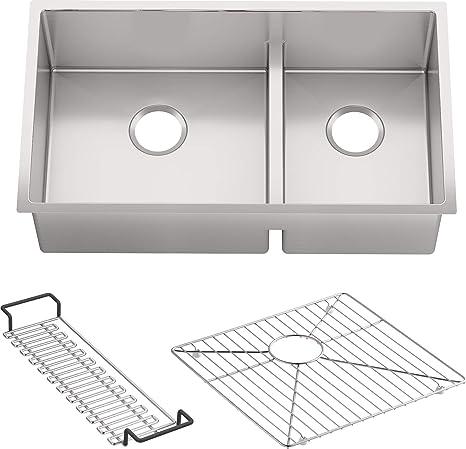 KOHLER K-5284-NA Strive Undermount Large/Medium Double Bowl Kitchen Sink,  32-Inch x 18-5/16-Inch, Stainless Steel