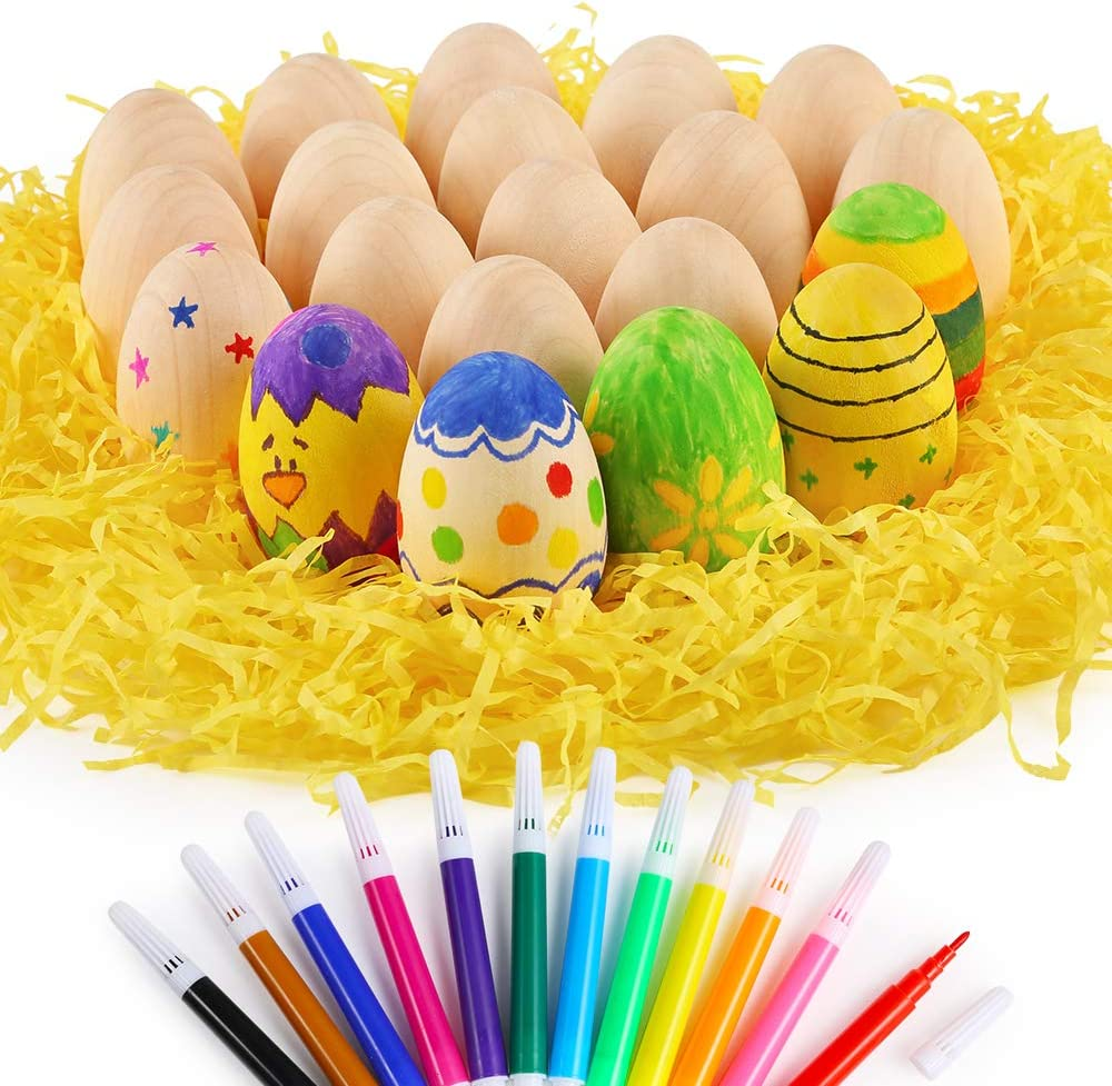 """Easter Craft Egg with 12 Colors Markers Shredded Tissue for Easter Crafts Painting and Displays Caydo 20 Pieces 2.36/"""" Unfinished Wooden Eggs to Paint"""