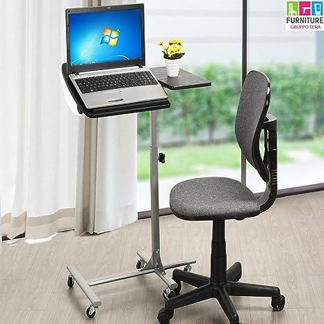 Bakaji Tavolino Porta PC Notebook Laptop con Rotelle Altezza Regolabile 60 x  40 x 70  dfd47e746b9