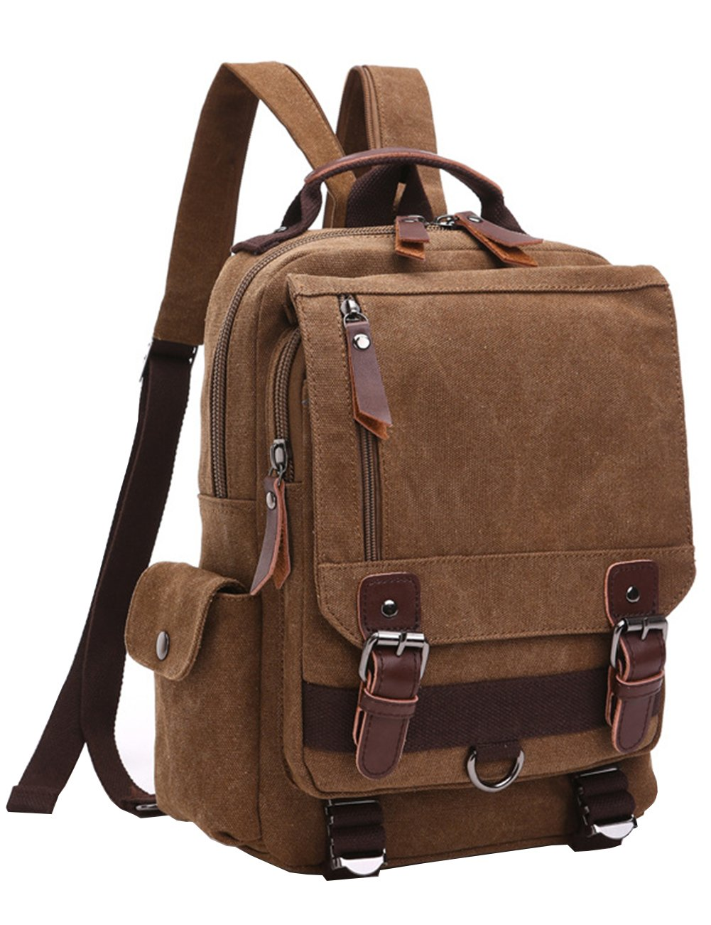 Mygreen Vintage Canvas Cross Body Messenger Backpack Rucksack for Men & Boys Casual Book Bag Sports Daypack