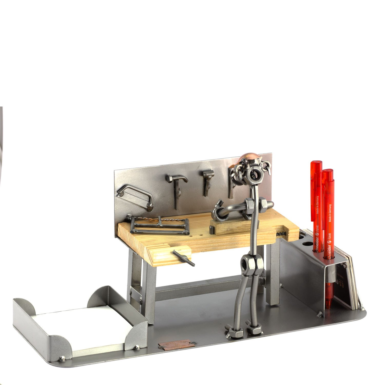 Steelman24 I Schraubenmännchen Tischler Büro Mit Persönlicher Gravur I Made in Germany I Handarbeit I Geschenkidee I Stahlfigur I Metallfigur