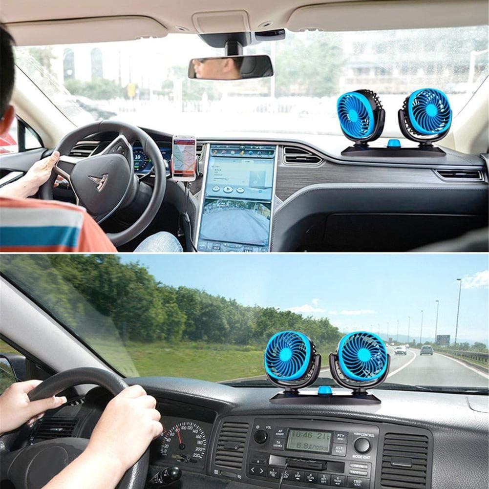 Ventilateur de Camion /électrique 12V 24V Puissant de Refroidissement Universel Double t/ête Ventilateur Puissant Vent 360 degr/és Rotatif CampHiking Ventilateur de Voiture