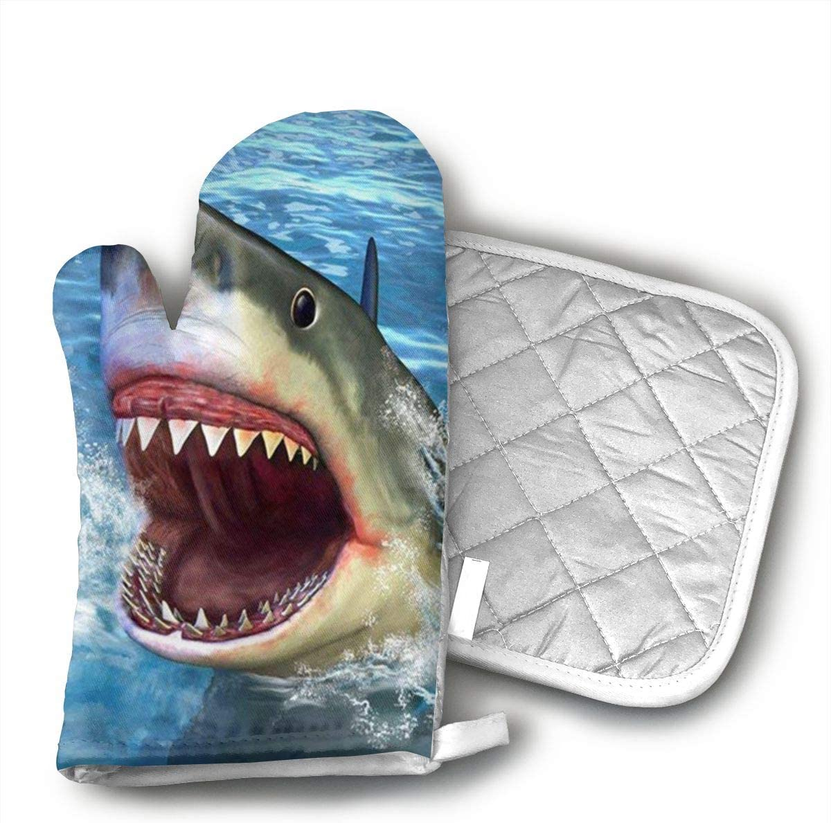 Wiqo9 Blue Shark Oven Mitts and Pot Holders Kitchen Mitten Cooking Gloves,Cooking, Baking, BBQ.