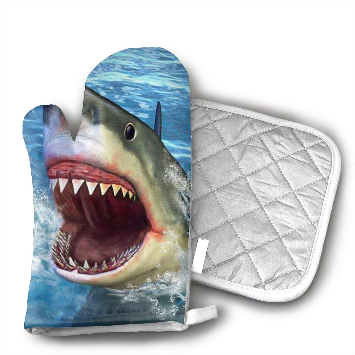 Blue Shark Cotton Puppet Oven Mitts and Pot Holder Kitchen Set with Neoprene Non-Slip Grip, Heat Resistant, Oven Gloves and Pot Holders Set for BBQ Cooking Baking, Grilling,Machine Washable.